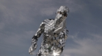 Sparkling discosuit man dancing with clouds behind