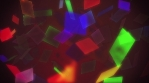 Flying multicolored polygon shapes glowing and flickering