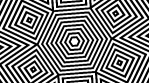 Black and white lined squares rotating around hexagon