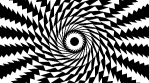 Black and white spiral of twisting rotating triangles