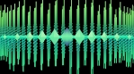 Abstract audio visualizer scrolling waveform beams bouncing