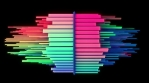 Abstract audio visualizer rotating multicolored snapping light beams