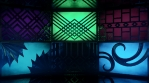Glowing blinking light boxes with ornate patterns