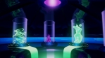 Glowing energy lab with organic neon plants and liquids