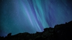 Deep space stars aurora borealis volcanic rocks Iceland realistic 4k