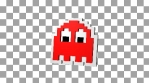 Red ghost of Pacman arcade video game with alpha channel