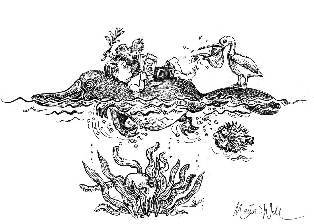 Näbbdjuret simmar även på internet