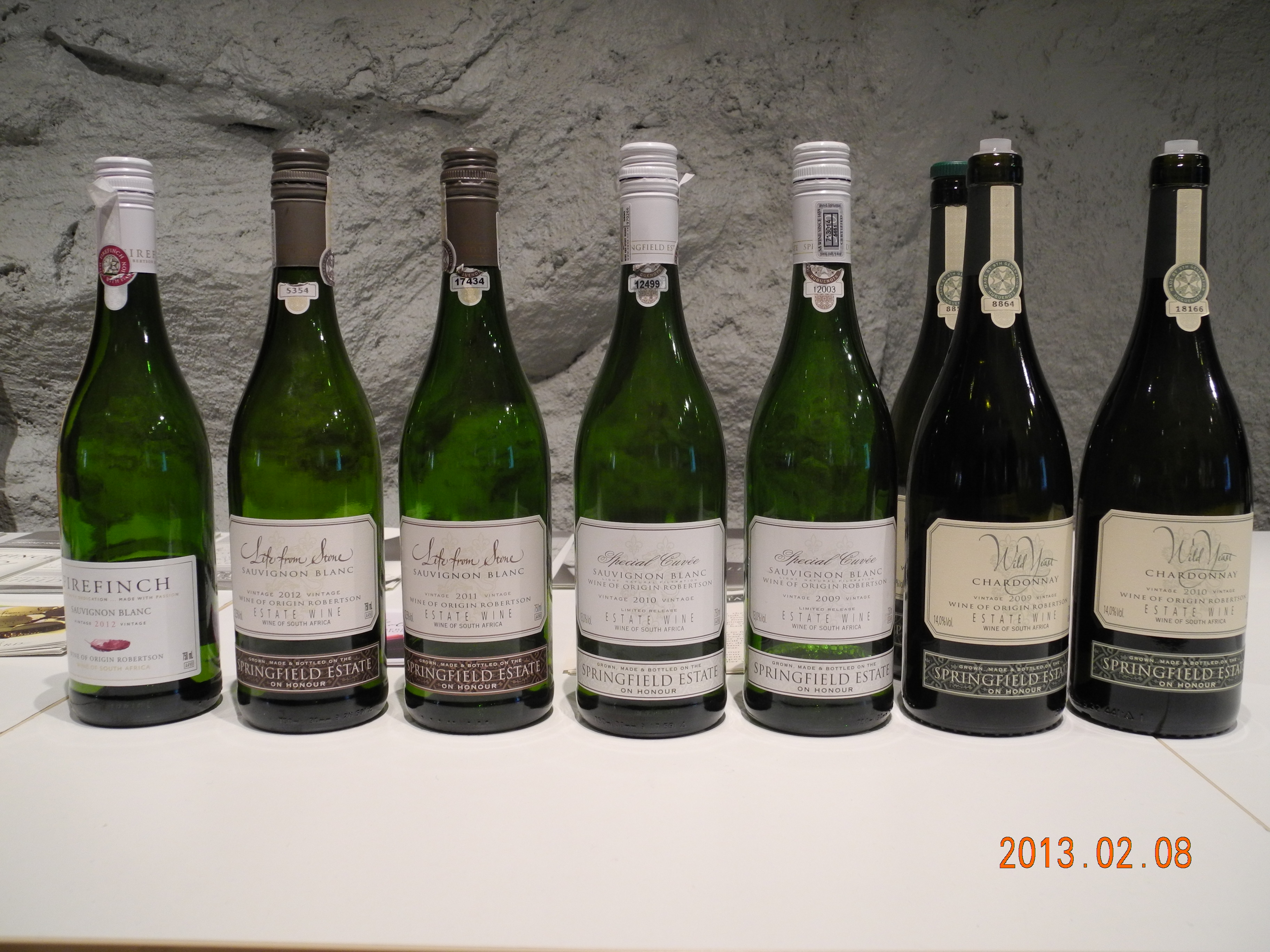 vinuppställning Springfield Estate Wines