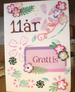 grattis 11 år Ett födelsedagskort.   Marja grattis 11 år