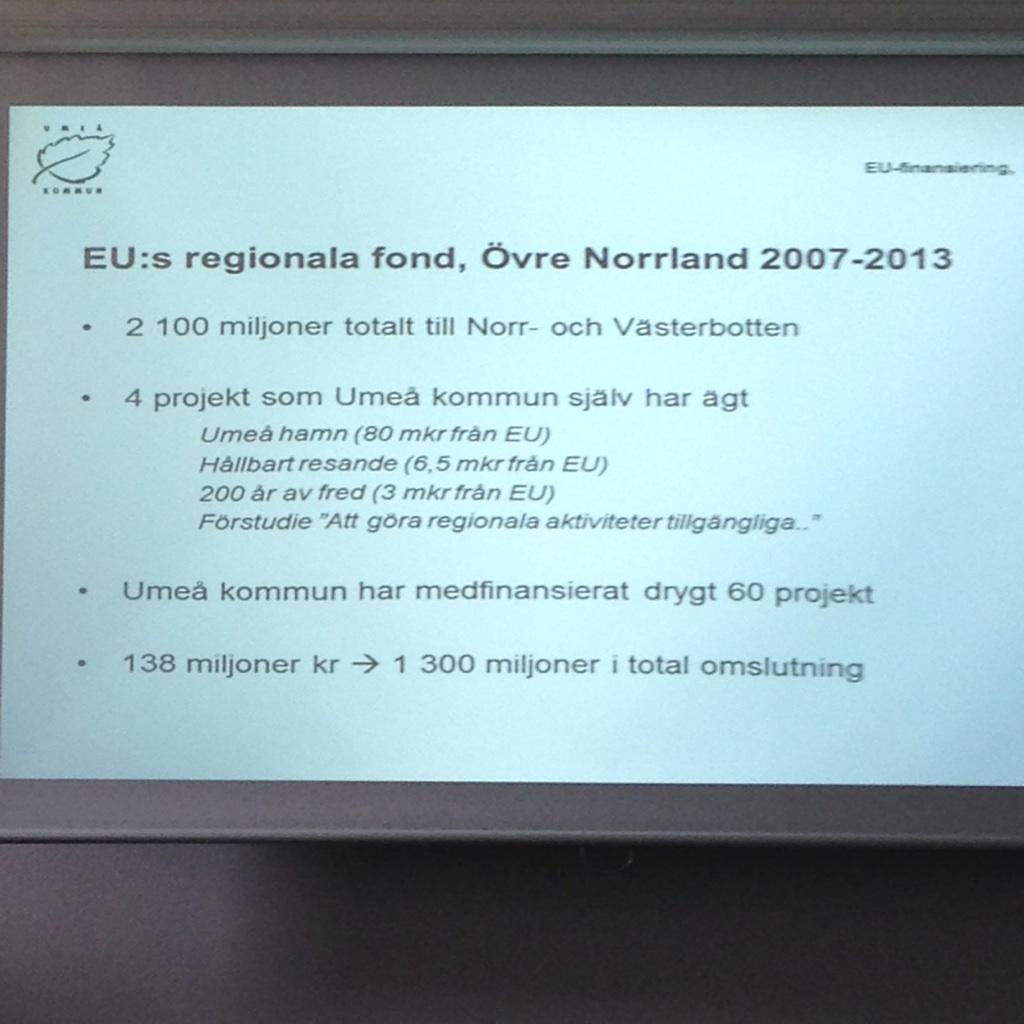 Umeå har stor nytta av EU fonder