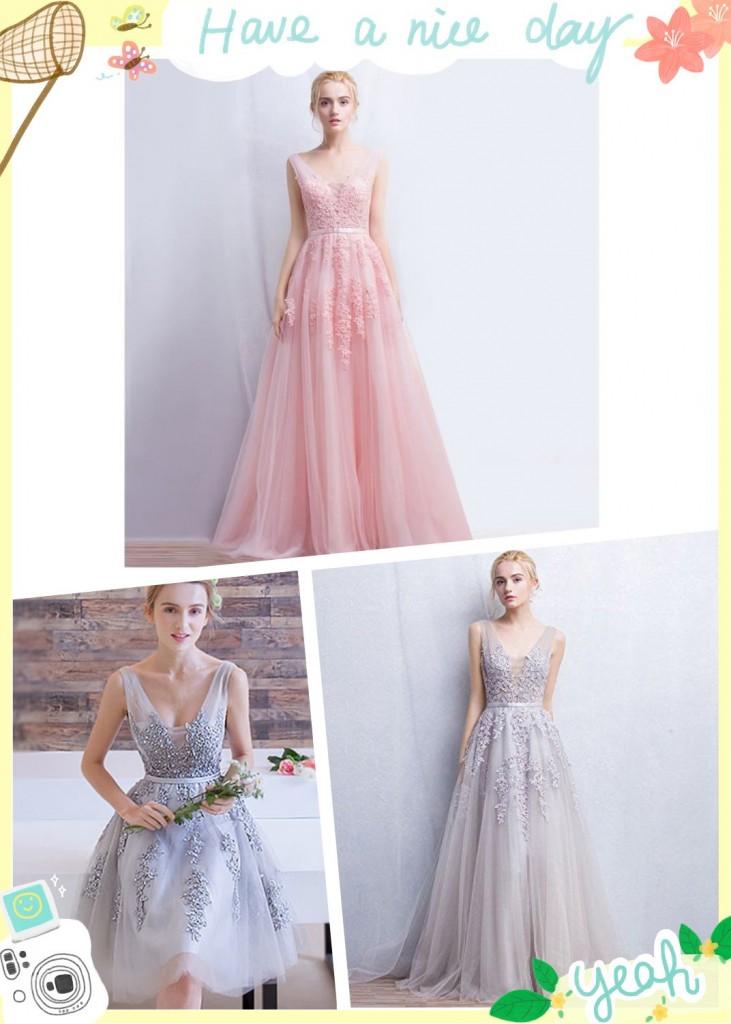 Robes en longueur courte et longue pour soirée de mariage