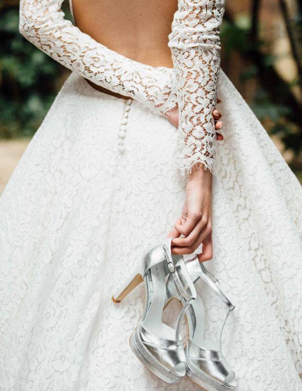 sandales de mariée argenté à talon haut