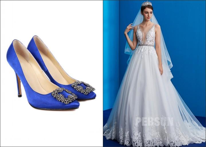 robe de mariée appliqué de dentelle et escarpins bleus orné de strass