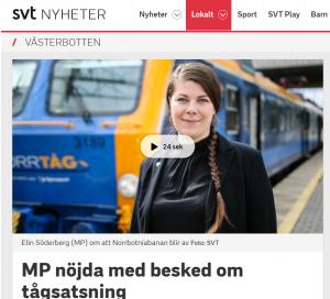 Kommentar i SVT Västerbotten om beslutet att finansiera bygge av Norrbotniabanan mellan Umeå och Skellefteå