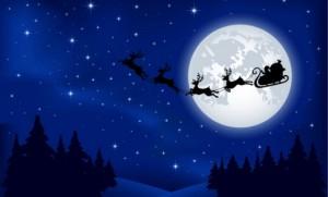 Santa's sleigh on Moon background