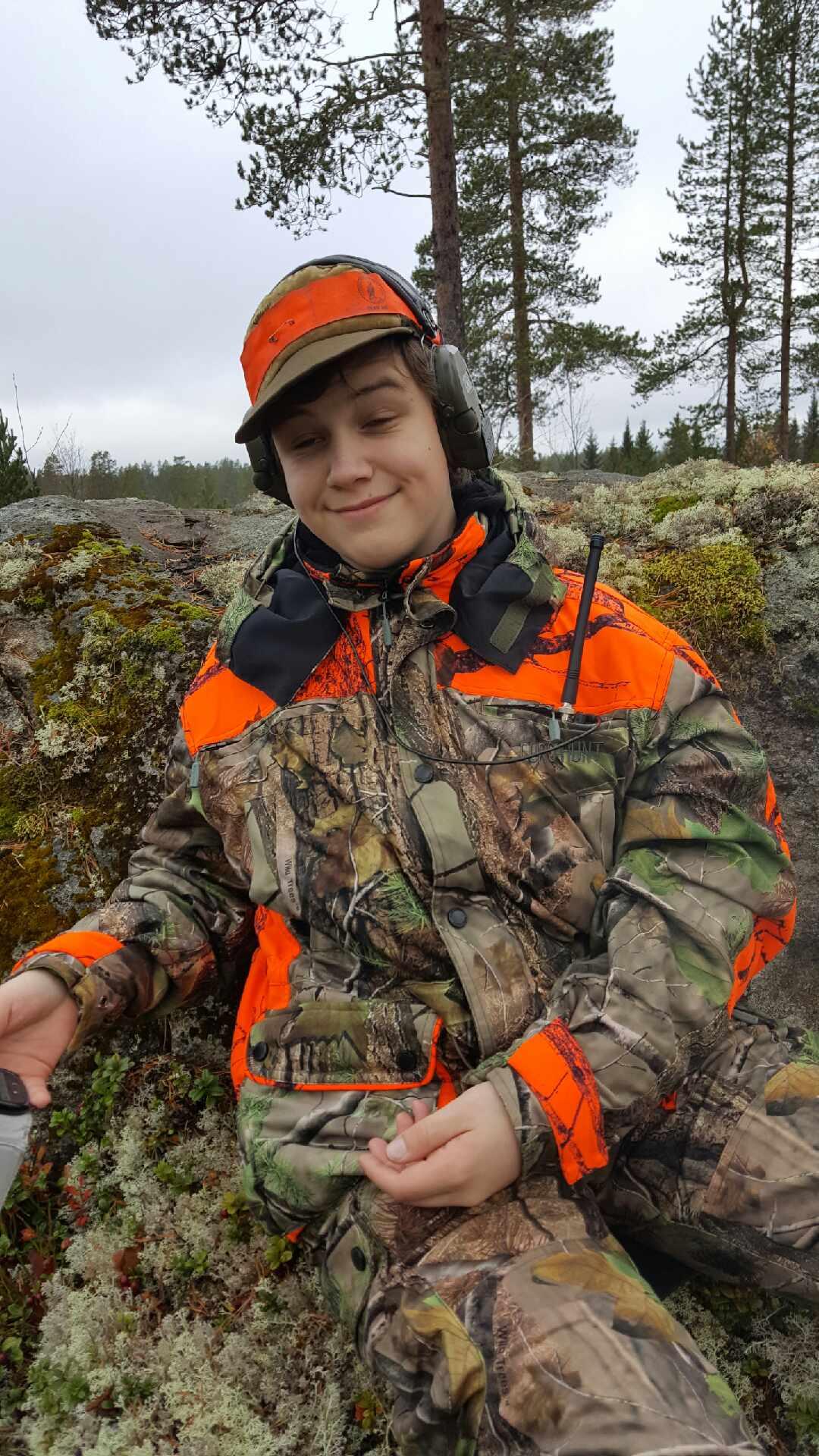 Hade yngste sonen med i helgen när vi jagade
