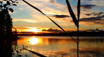 Solnedgång i Ramsjön vindelns kommun.