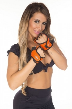 gloves-dry-fit-orange-garota-fit-luv02e Garota Fit Fashion Fitness e Praia