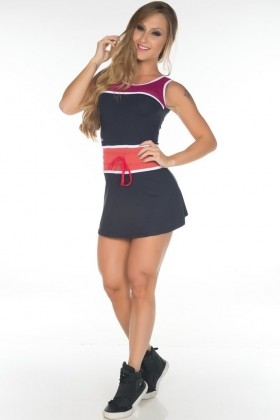 Dress Cris Black and Red - Garotafit VEZ02F Garotafit Fashion Fitness e Praia