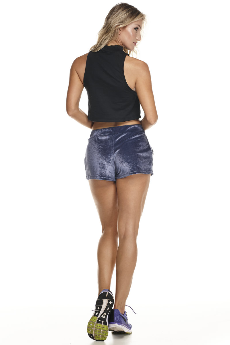 Lets Gym Shorts Veludo Azul S564A