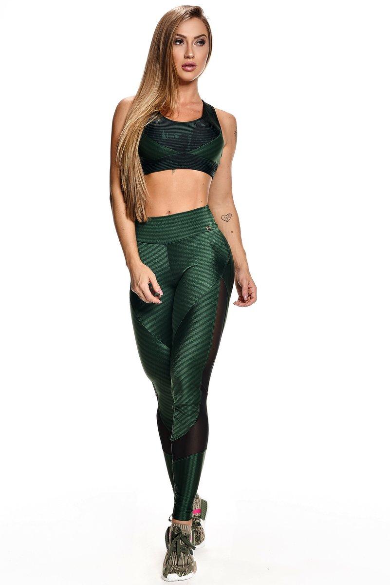 Lets Gym Calça Legging Ikat Fit Verde L576A