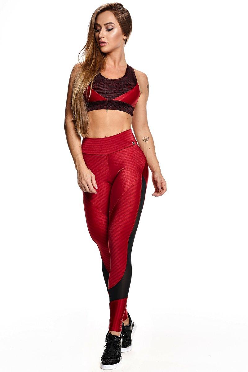 Lets Gym Calça Legging Ikat Fit Vermelha L576B