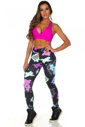 Calça Estampada Ester - Garota Fit FUS183E01 Garota Fit Fashion Fitness e Praia