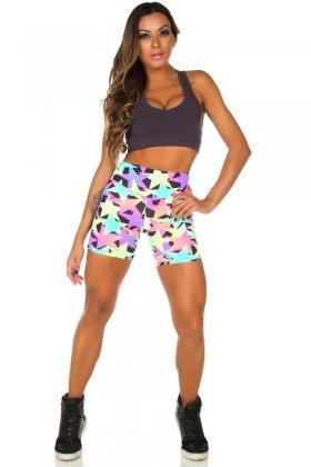 Short Estampado Tell - Garota Fit SH452E02 Garota Fit Fashion Fitness e Praia
