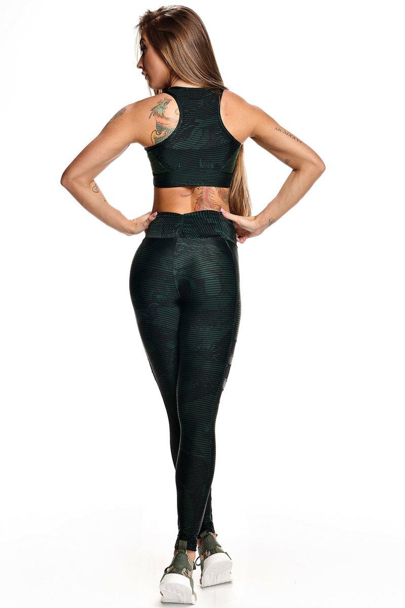 Lets Gym Calça Legging Snake Fit Verde L575C