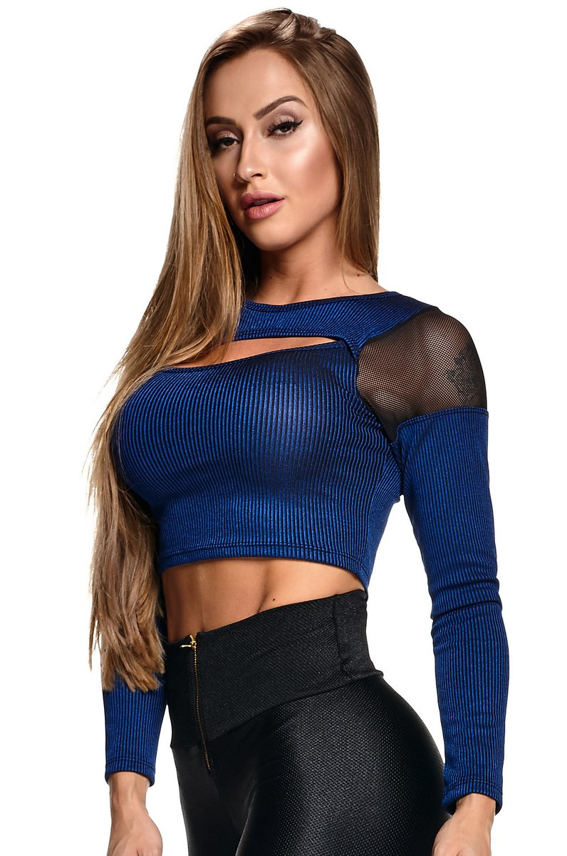 Lets Gym Blusa Cropped Ribana Chic Azul C646B