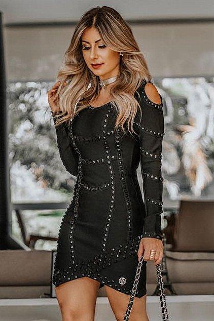 Miss Misses Vestido Tubinho Vazado Ombro 900008