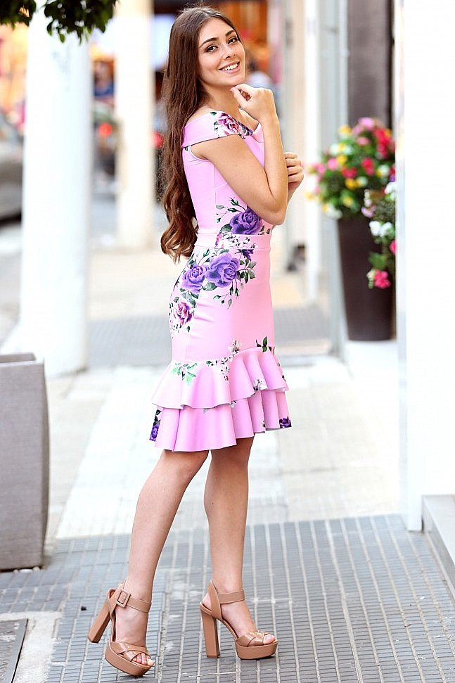 Miss Misses Vestido Babado com Pregas 115862