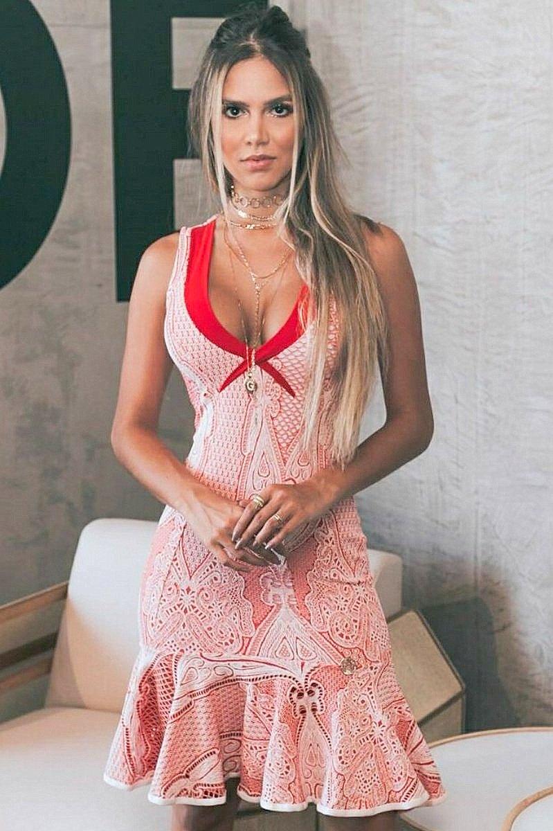 Miss Misses Vestido Midi com Babado Sino 212346