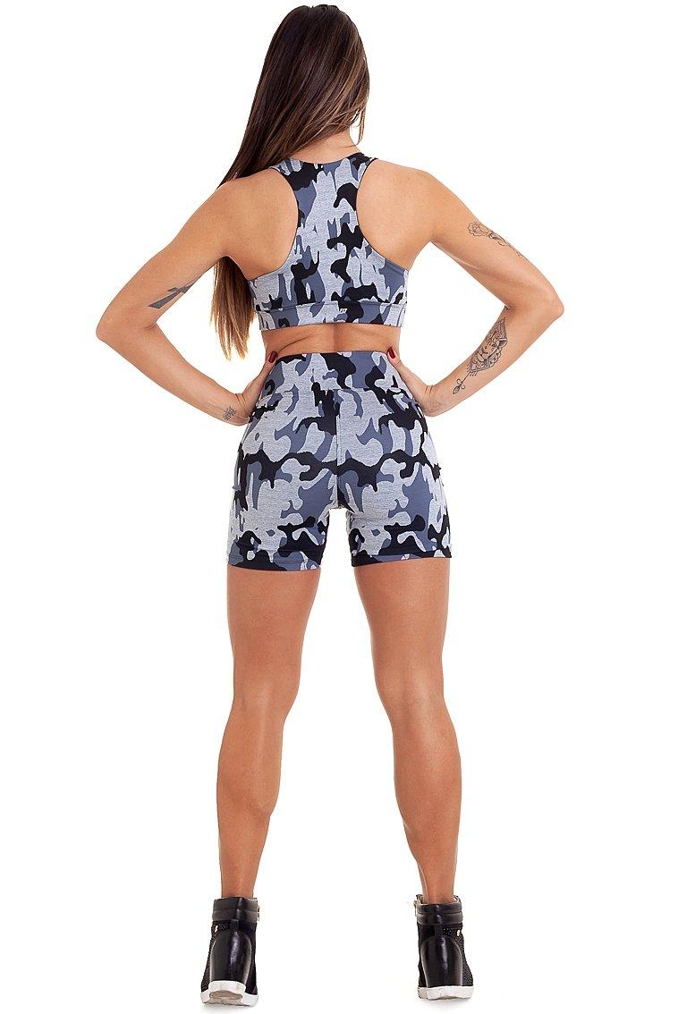 Garota Fit Shorts Camuflado SH457E01