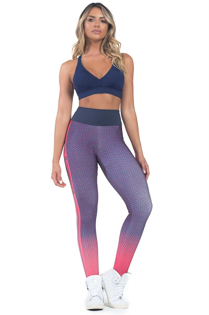 Vestem Calça Legging Fusô Degradê Marinho com Pink FS538