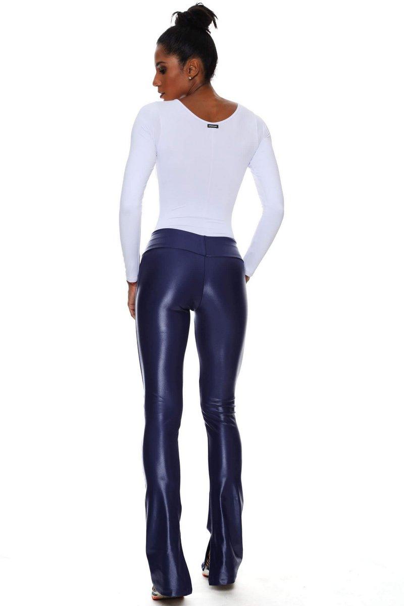 Canoan Calça Flare Leather Azul 32202