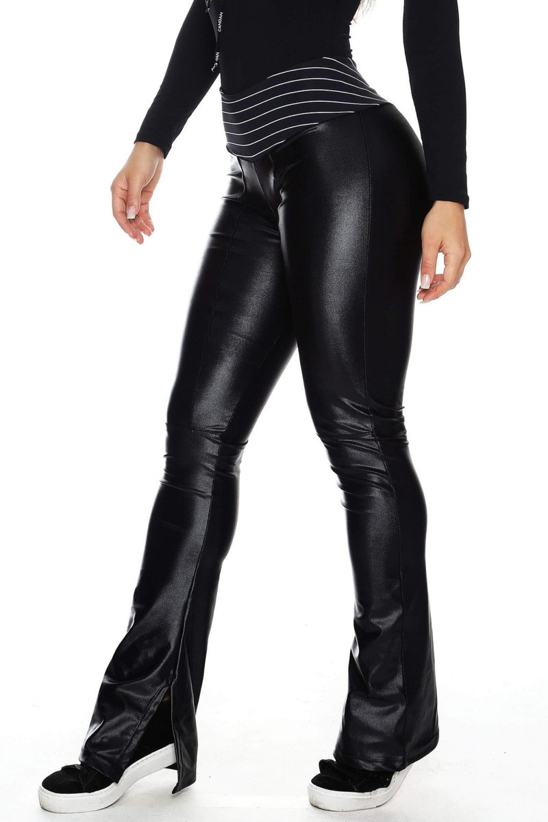 Canoan Calça Flare Leather Preta 32201
