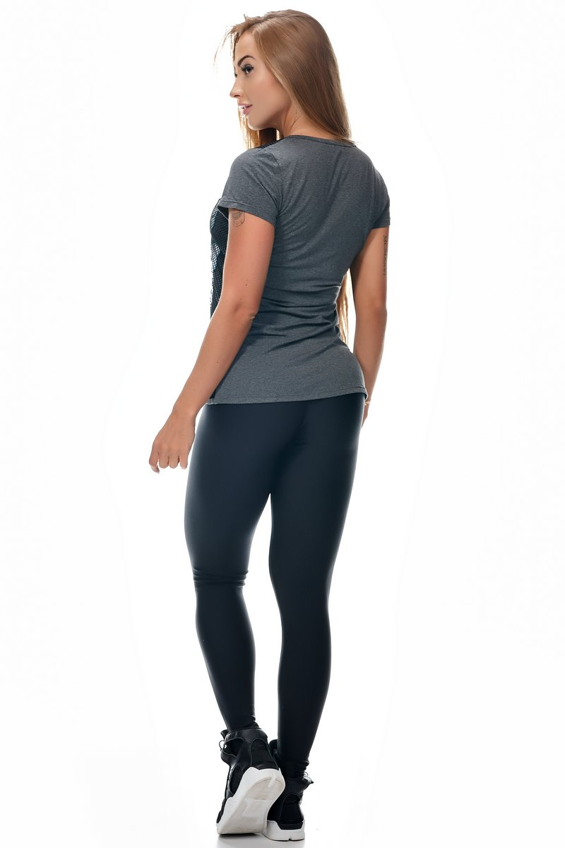 Lets Gym Calça Legging Trilobal Preta L480F