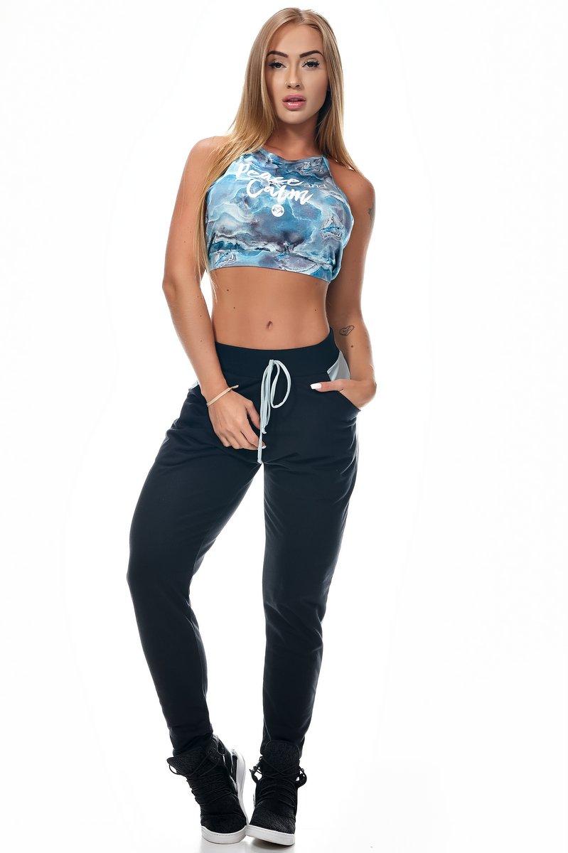 Lets Gym Calça Jogger Rise Preta com Prata C692B