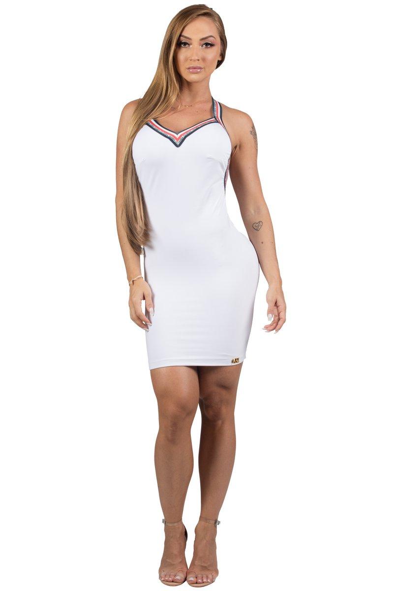 Maria Gueixa Vestido Curto Decote Elástico Branco 005450B