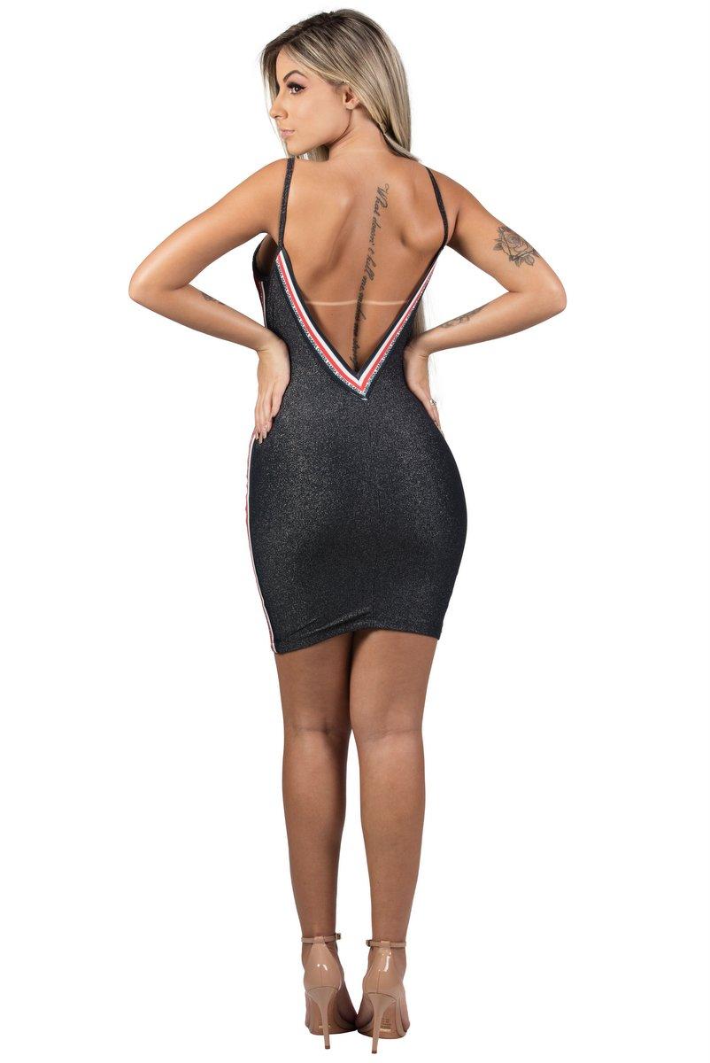 Maria Gueixa Vestido Curto Lurex Elástico Preto 005468