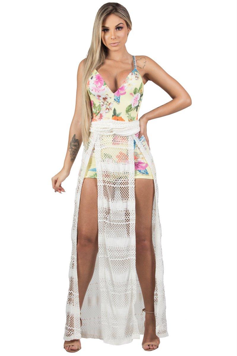 Maria Gueixa Vestido Longo Tropical Fenda 005544