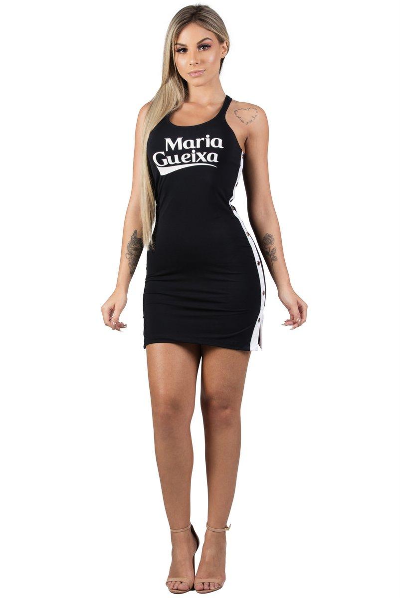 Maria Gueixa Vestido Curto Botões Laterais Preto  005547B