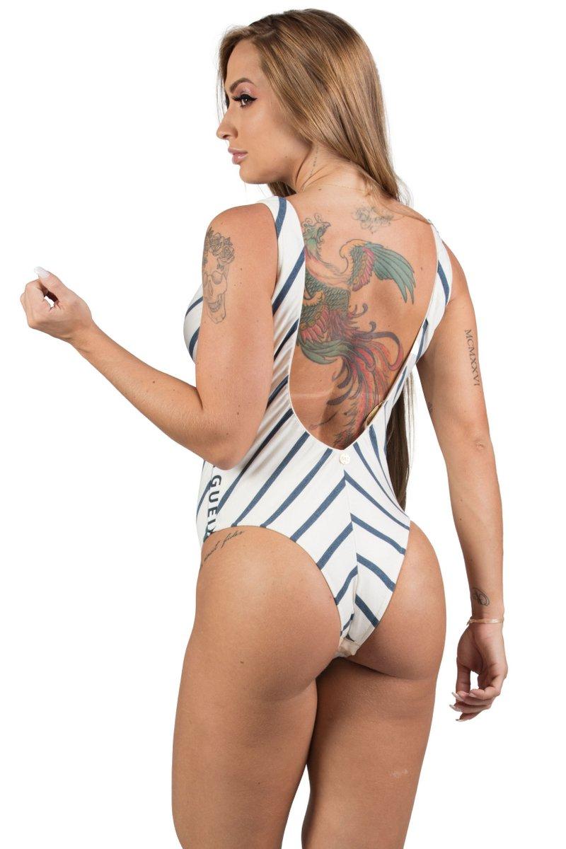 Maria Gueixa Body Listras Elástico Off White 005460B