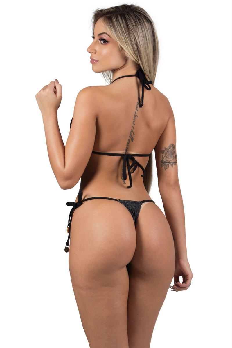 Maria Gueixa Biquíni Conjunto Lurex Pompom Preto 005425