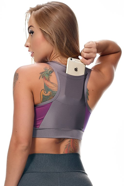 Lets Gym Top Running Roxo T735B