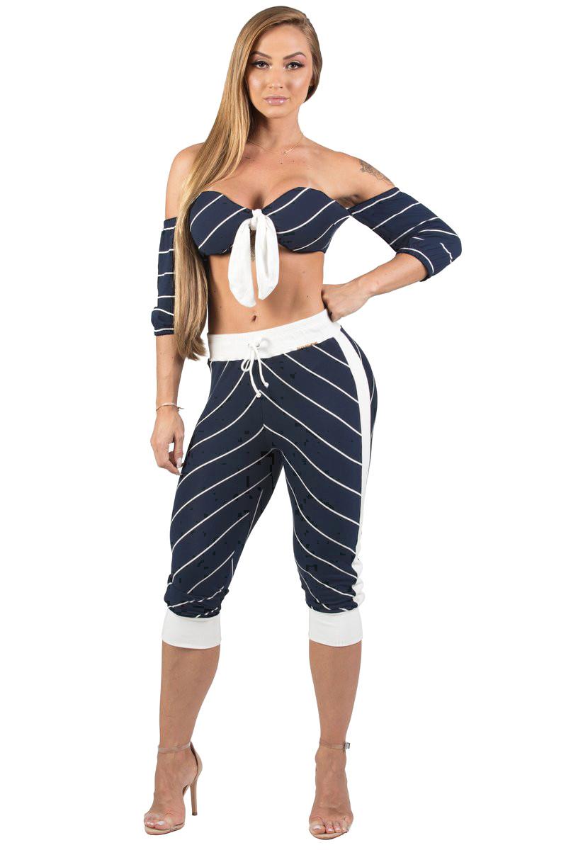 Maria Gueixa Nautical Marine Top Set and Pants 005616