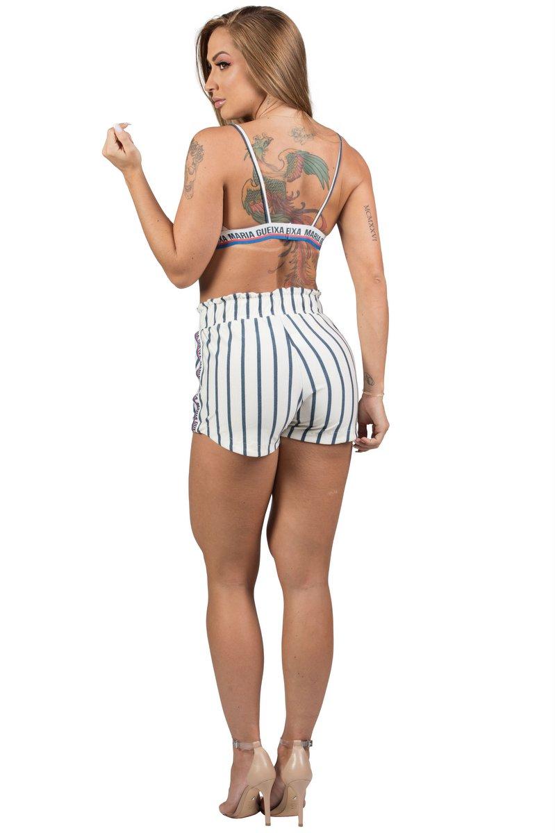 Maria Gueixa Conjunto Short e Top Listra Off White 005540B