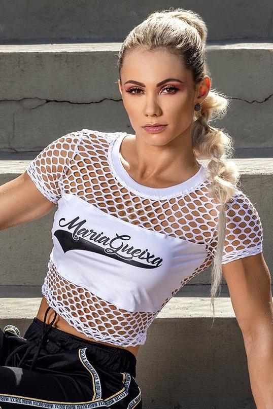 Maria Gueixa Blusa Curta Rede Trama Branca 005545A