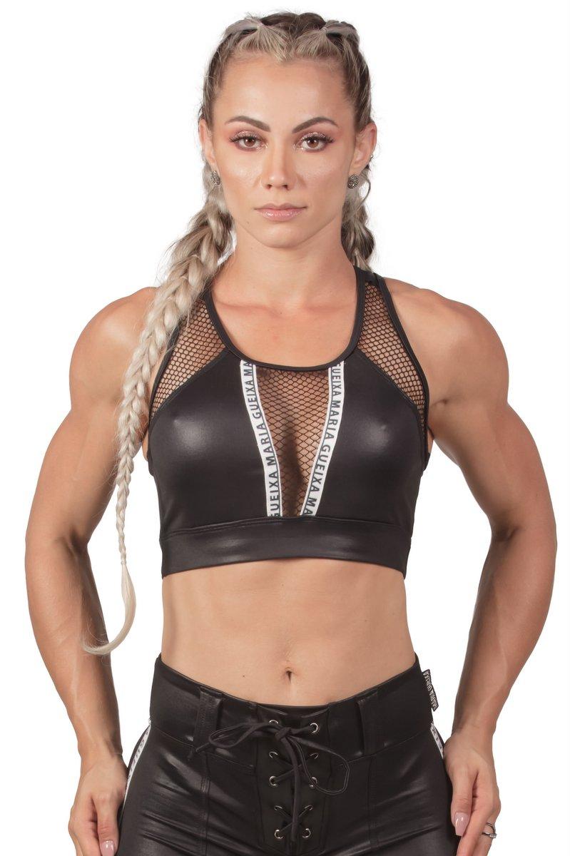 Maria Gueixa Top Fitness Efeito Couro 005613